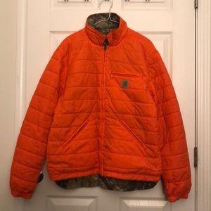 Mens Carhartt Orange/Camo reversible jacket